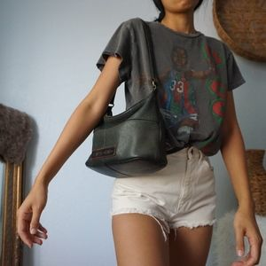 Fossil Dark Green / Black Leather Shoulder Bag